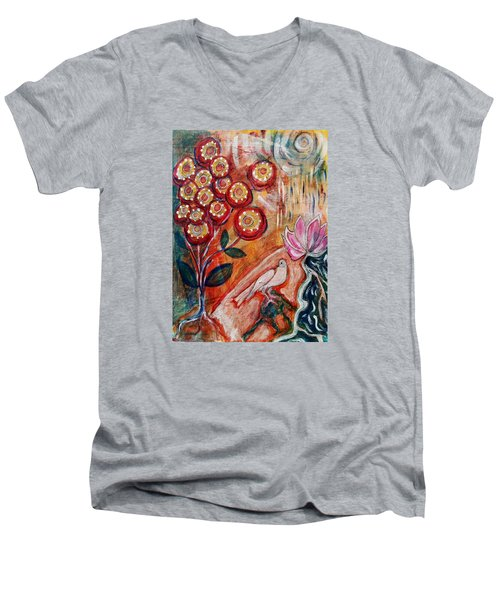 Men's V-Neck T-Shirt featuring the mixed media White Bird by Mimulux patricia no No