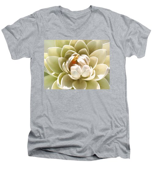 White Blooming Lotus Men's V-Neck T-Shirt