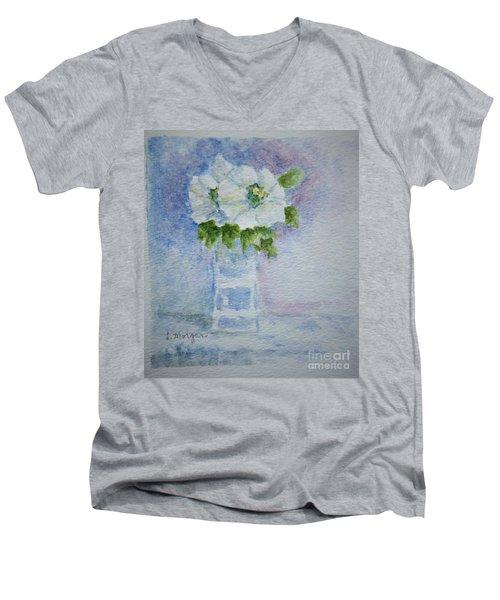 White Blooms In Blue Vase Men's V-Neck T-Shirt