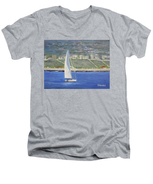 White Boat, Blue Sea Men's V-Neck T-Shirt