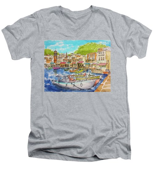 White Boat, Hydra Harbor Men's V-Neck T-Shirt
