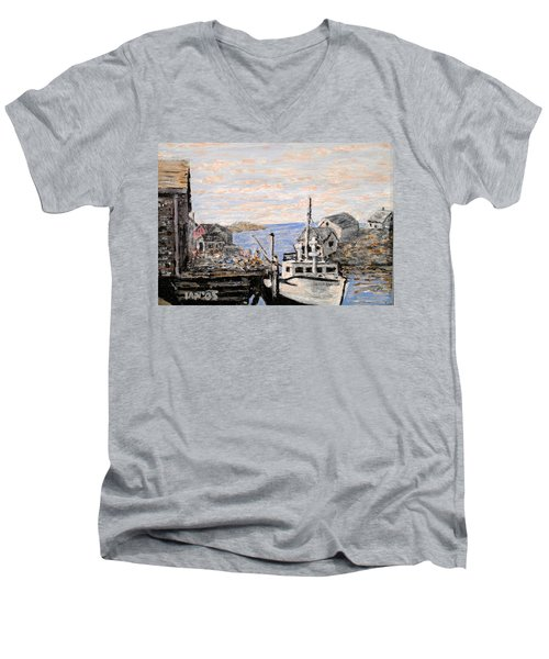Men's V-Neck T-Shirt featuring the painting White Boat In Peggys Cove Nova Scotia by Ian  MacDonald