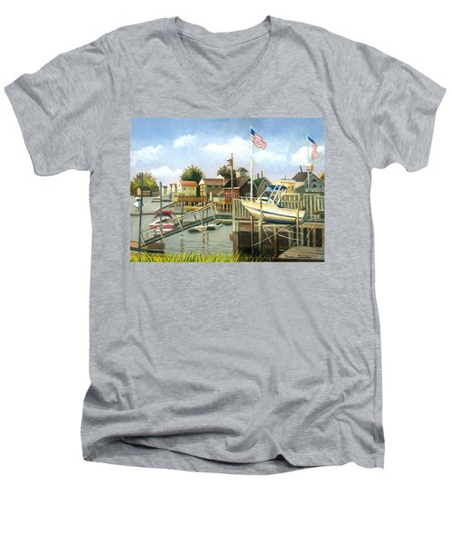 White Boat With Flags In Broad Channel Men's V-Neck T-Shirt