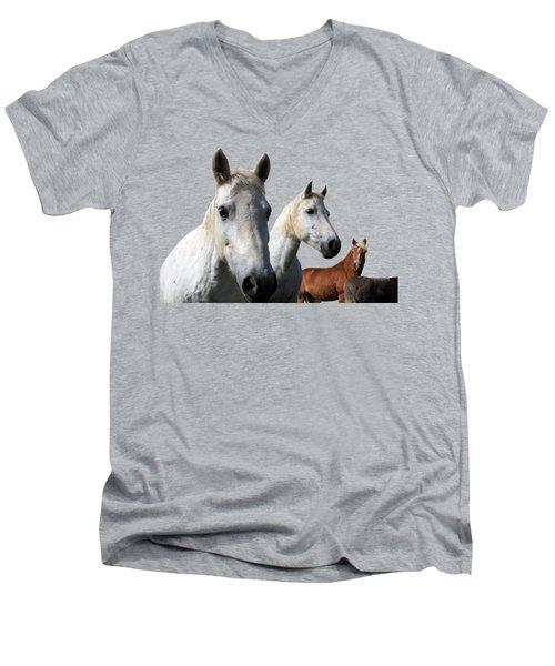 White Camargue Horses Men's V-Neck T-Shirt