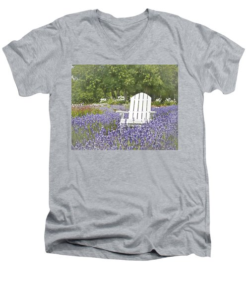 Men's V-Neck T-Shirt featuring the photograph White Chair In A Field Of Lavender Flowers by Brooke T Ryan