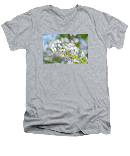 Men's V-Neck T-Shirt featuring the photograph White Cherry Blossoms In Spring by Alexander Senin