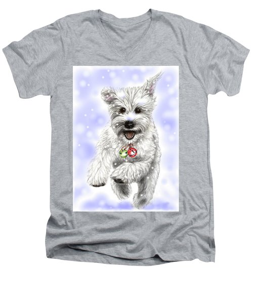 Men's V-Neck T-Shirt featuring the drawing White Christmas Doggy by Heidi Kriel