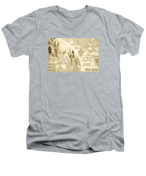 Men's V-Neck T-Shirt featuring the photograph White Christmas - Winter In Switzerland by Susanne Van Hulst