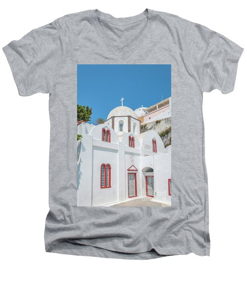 Men's V-Neck T-Shirt featuring the photograph White Church At Fira by Antony McAulay