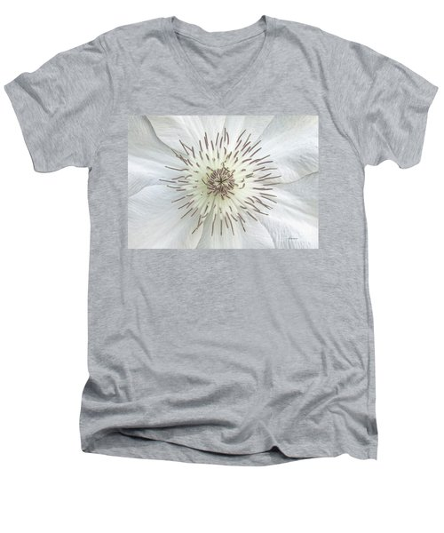 Men's V-Neck T-Shirt featuring the photograph White Clematis Flower Garden 50121b by Ricardos Creations