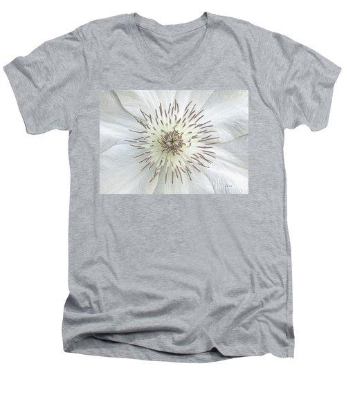 White Clematis Flower Garden 50121b Men's V-Neck T-Shirt