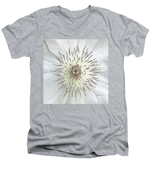 Men's V-Neck T-Shirt featuring the photograph White Clematis Flower Macro 50121c by Ricardos Creations