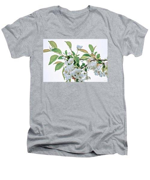 White Crabapple Blossoms Men's V-Neck T-Shirt by Skip Tribby