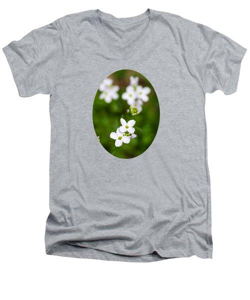 White Cuckoo Flowers Men's V-Neck T-Shirt by Christina Rollo