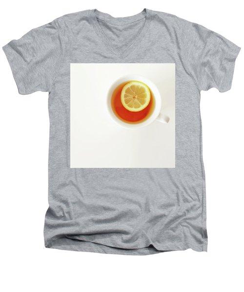 White Cup Of Tea With Lemon Men's V-Neck T-Shirt