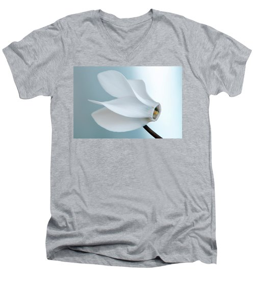 Men's V-Neck T-Shirt featuring the photograph White Cyclamen. by Terence Davis