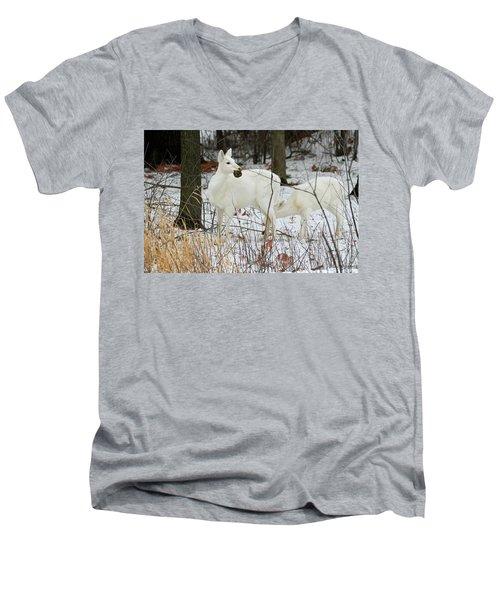 White Deer With Squash 2 Men's V-Neck T-Shirt