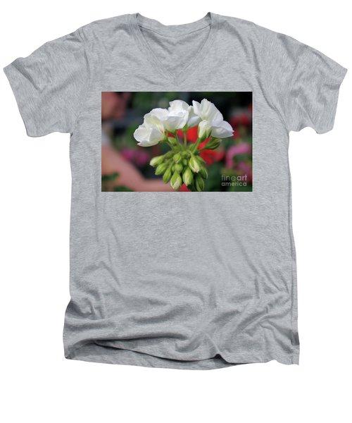 White Details  Men's V-Neck T-Shirt
