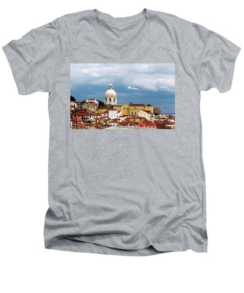 Men's V-Neck T-Shirt featuring the photograph White Dome Against Blue Sky by Lorraine Devon Wilke