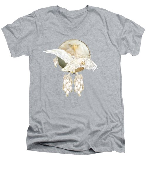 Men's V-Neck T-Shirt featuring the mixed media White Eagle Dreams by Carol Cavalaris