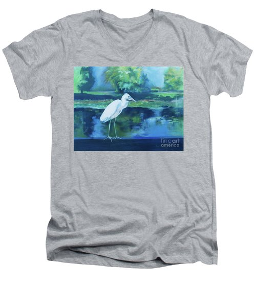 Men's V-Neck T-Shirt featuring the pastel White Egret Bird On Blue by Robin Maria Pedrero