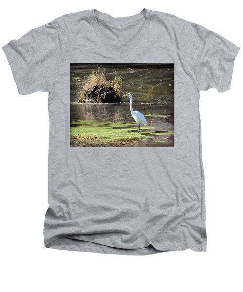 White Egret In The Shallows Men's V-Neck T-Shirt