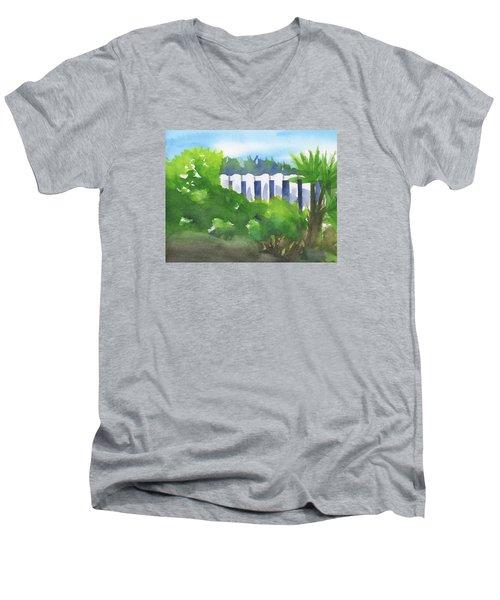 White Fence  Men's V-Neck T-Shirt by Frank Bright