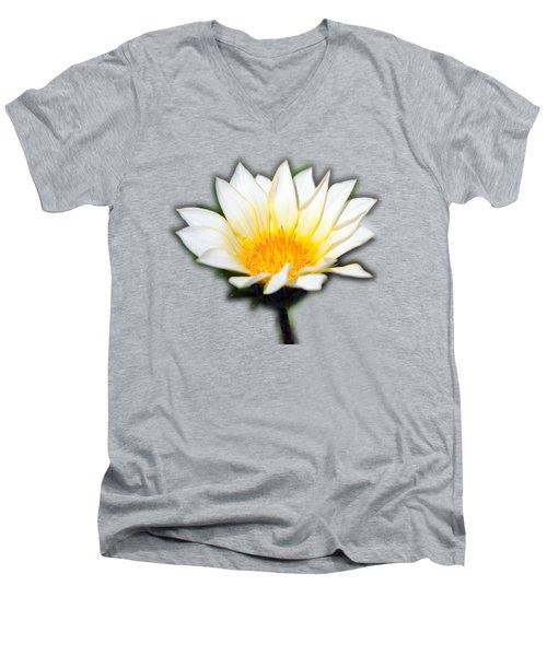 White Flower T-shirt Men's V-Neck T-Shirt