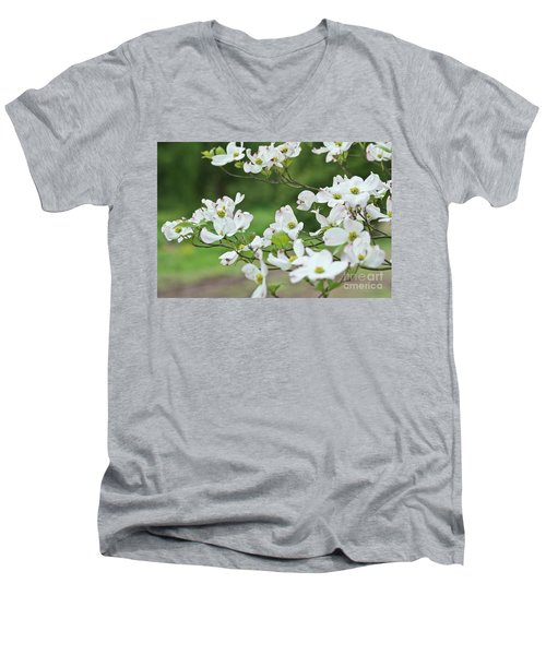 Men's V-Neck T-Shirt featuring the photograph White Flowering Dogwood by Ann Murphy