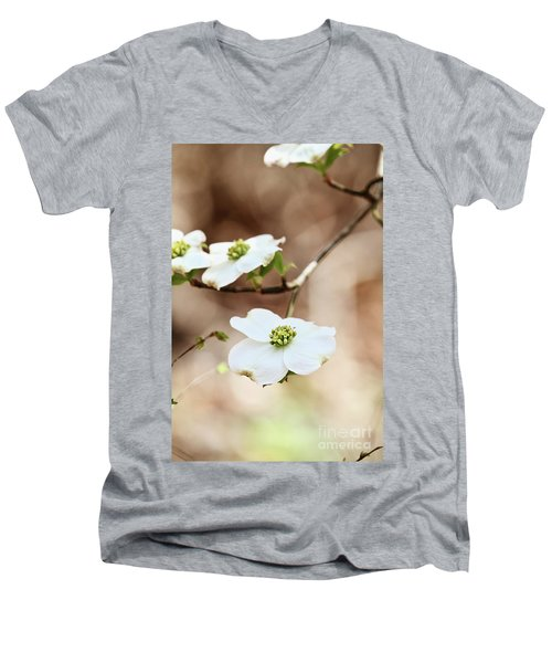 Men's V-Neck T-Shirt featuring the photograph White Flowering Dogwood Tree Blossom by Stephanie Frey