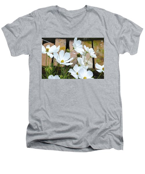 White Flowers Against Bricks Men's V-Neck T-Shirt