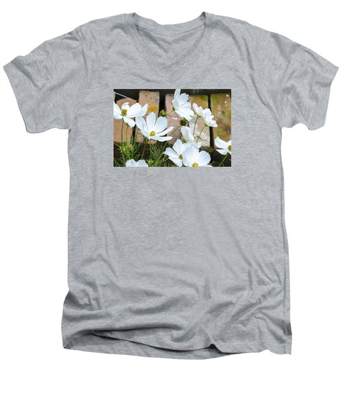 White Flowers Against Bricks Men's V-Neck T-Shirt