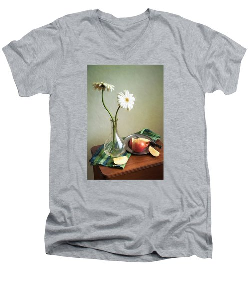 White Flowers And Red Apples Men's V-Neck T-Shirt