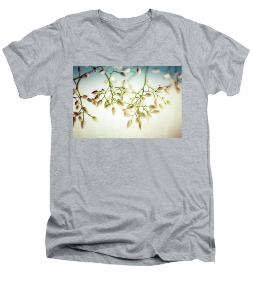 Men's V-Neck T-Shirt featuring the photograph White Flowers by Bobby Villapando