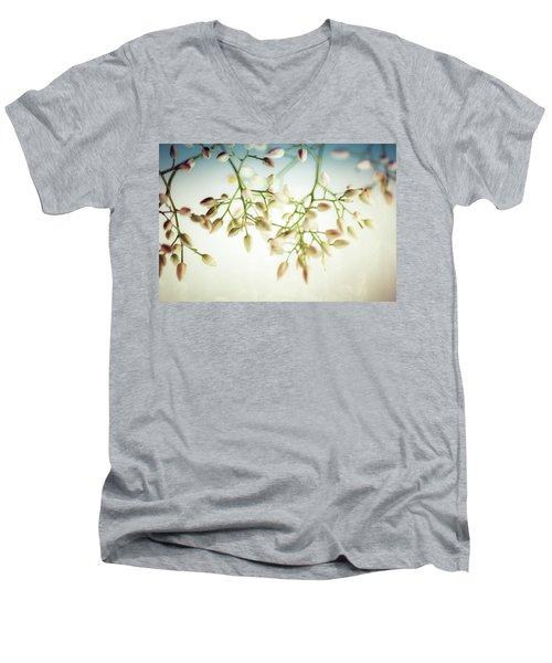 White Flowers Men's V-Neck T-Shirt by Bobby Villapando