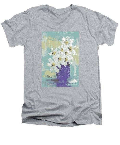 White Flowers Men's V-Neck T-Shirt by P J Lewis