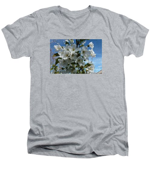 White Flowers - Variation 2 Men's V-Neck T-Shirt