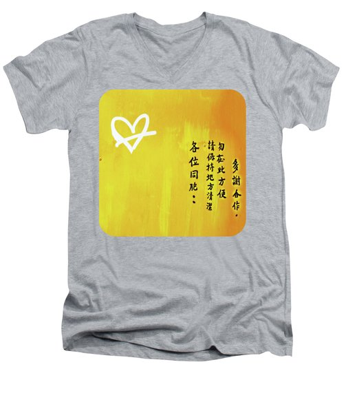 Men's V-Neck T-Shirt featuring the photograph White Heart On Orange by Ethna Gillespie