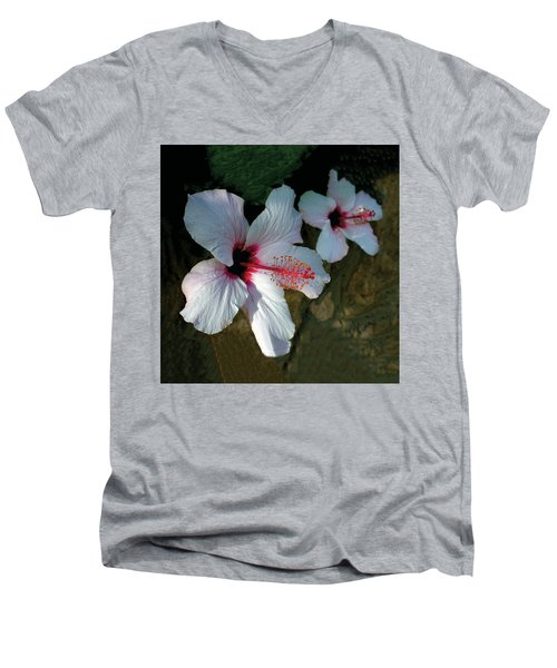 White Hibiscus Pair Men's V-Neck T-Shirt