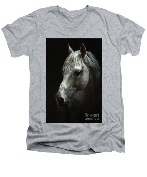 White Horse Portrait Men's V-Neck T-Shirt