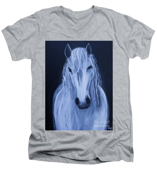 Men's V-Neck T-Shirt featuring the painting White Horse by Stacey Zimmerman