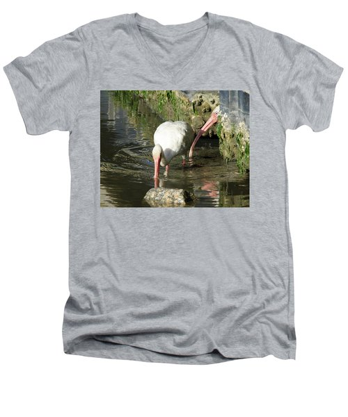 White Ibis Couple Men's V-Neck T-Shirt by George Randy Bass