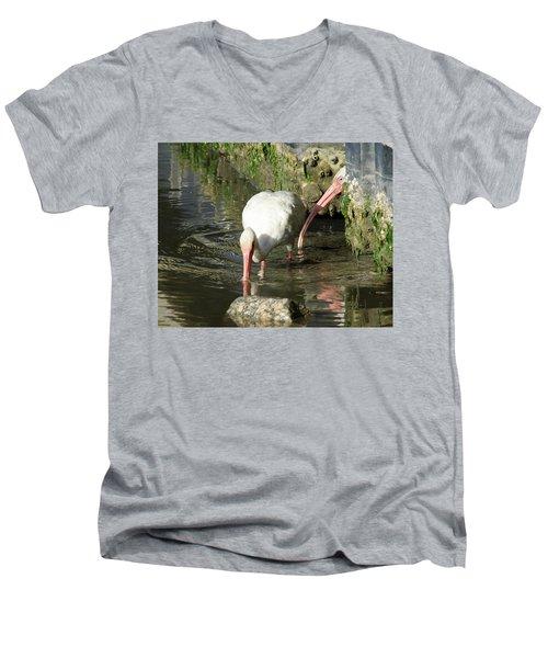 White Ibis Couple Men's V-Neck T-Shirt