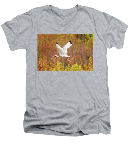 White Ibis In Hilton Head Island Men's V-Neck T-Shirt