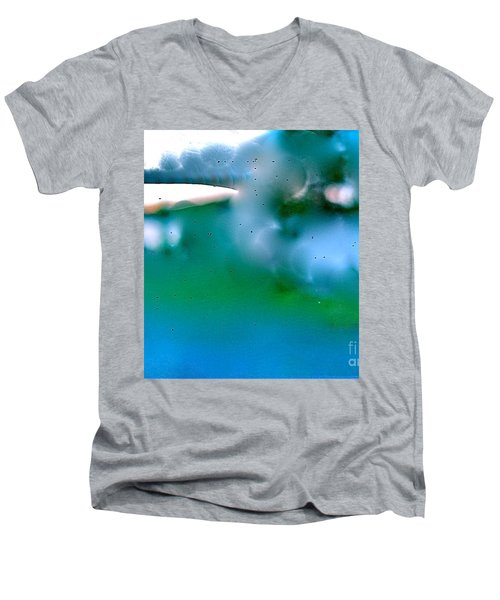 Men's V-Neck T-Shirt featuring the digital art White Ice by Patricia Schneider Mitchell