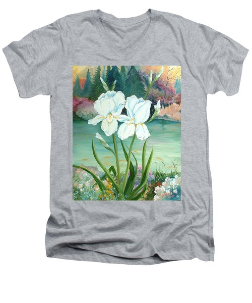 Men's V-Neck T-Shirt featuring the painting White Iris Love by Renate Nadi Wesley