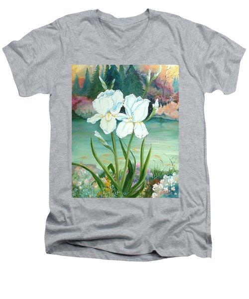 White Iris Love Men's V-Neck T-Shirt by Renate Nadi Wesley