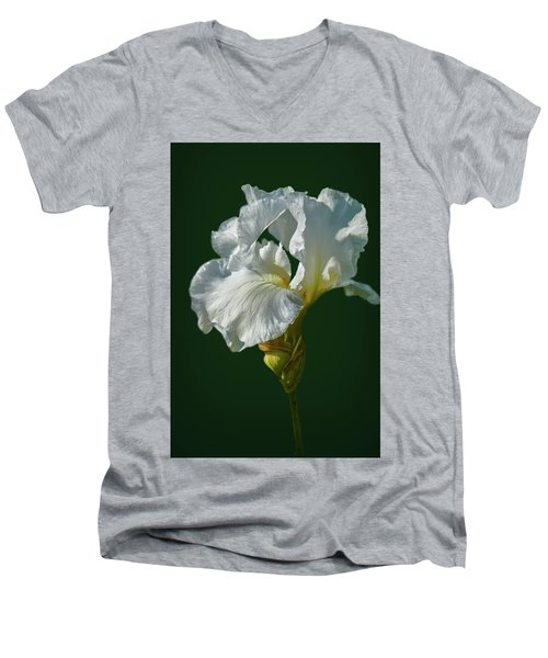 White Iris On Dark Green #g0 Men's V-Neck T-Shirt