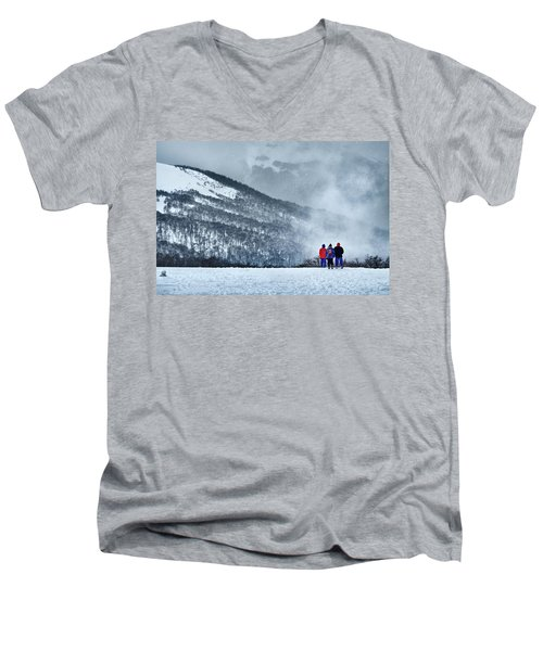White Landscape In The Frozen Paradise In The Argentine Patagonia Men's V-Neck T-Shirt