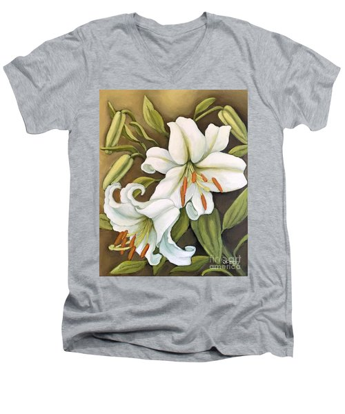 White Lilies Men's V-Neck T-Shirt by Inese Poga